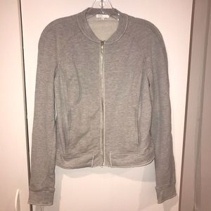 Vince Heather Grey French Terry Zip Up Jacket